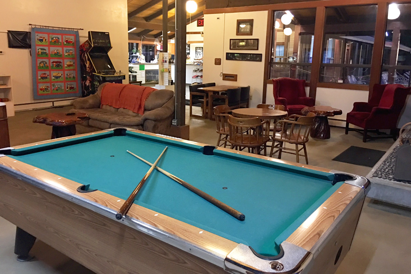 banner image is of Benbow KOA Game Room pool table and arcade