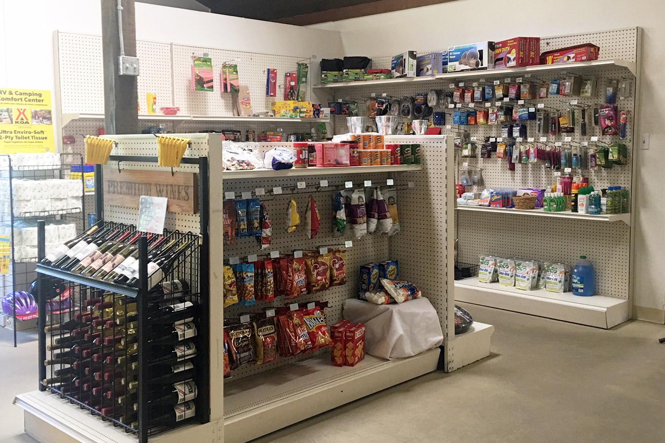 Benbow KOA Mini-Market store shelves
