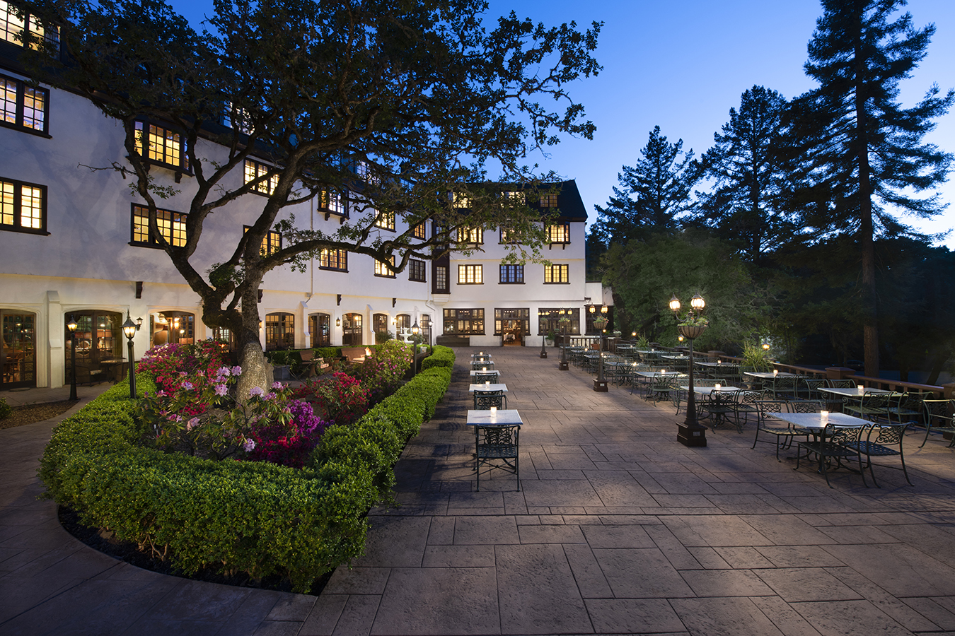banner image is of Benbow Historic Inn Room Terrace at Sunset